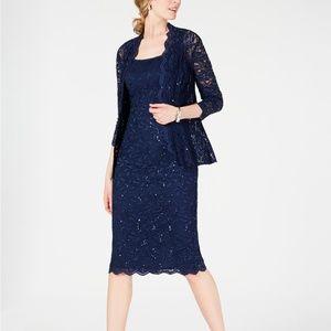Alex Evenings Sequined Lace Sheath Dress & Jacket
